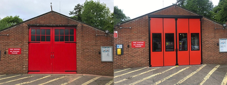 Before and After Clare Fire Station Doors