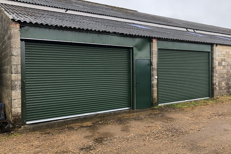 Titan Roller Shutters and Hormann Door in Juniper Green