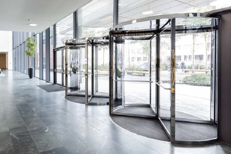 Geze Revolving Doors in large lobby