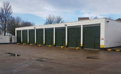 Roller Shutter Doors with wicket inset at Bassingbourn