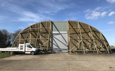 Large Hormann Decotherm roller shutter installed by Cooks Doors at Bentwaters