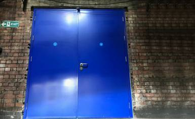 Two Metre Blue Steel Door with 60 Minute Fire Rating