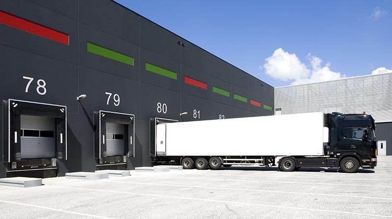 Truck parked in loading dock